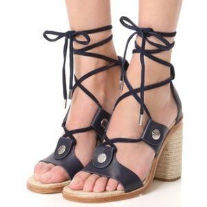 Rag & Bone Eden Navy Lace-Up Block Heel Sandals
